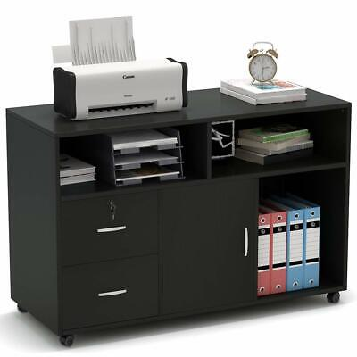 Wood Mobile Lateral Filing Cabinet With Locks And Wheels Open Storage Shelves