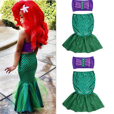 Little Mermaid Dress Toddler (Toddler Kids Ariel Little Mermaid Set Girl Princess Dress Party Cosplay)