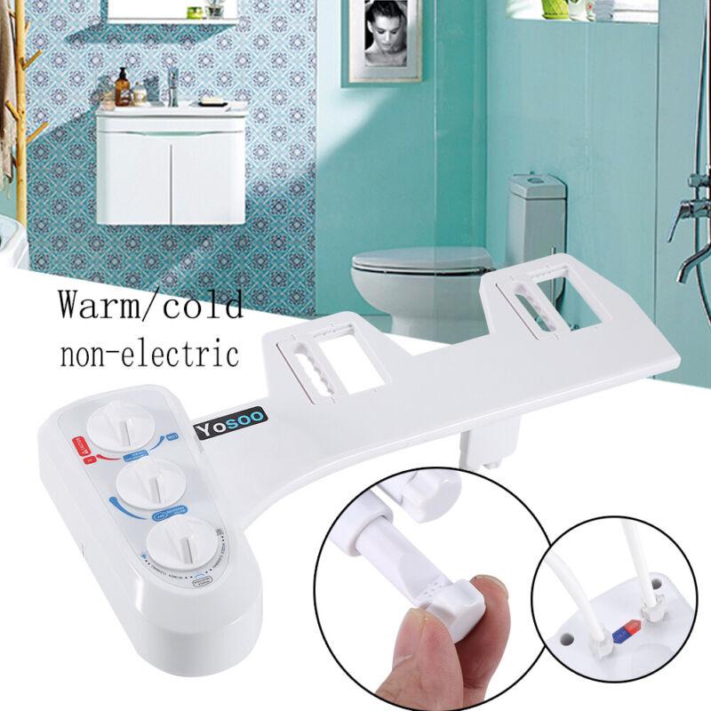 Hot/Cold Nozzle Water Spray Non-Electric Bidet Bathroom Toilet Seat Attachment