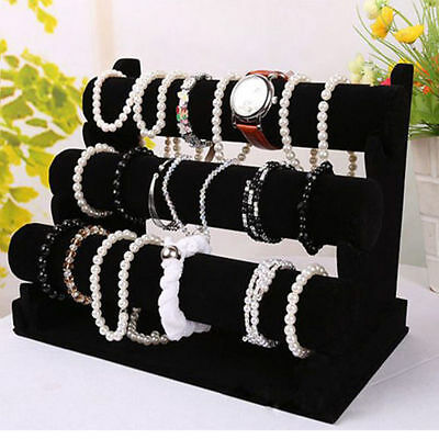 3-Tier Jewelry Bracelet Watch Bangle Display Holder Stand Showcase T-bar Rack WP