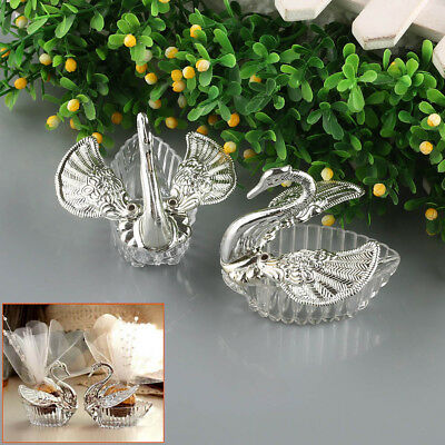 20Pcs Swan Wedding Favor Boxes Sliver Bomboniere Candy Box Wedding Favors Gift - Clear Wedding Favor Boxes