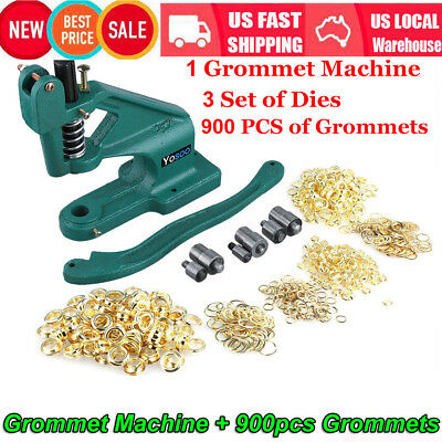 Green Eyelet Hole Punch Machine Hand Press Steel Banner Bag3 Dies 900 Grommet