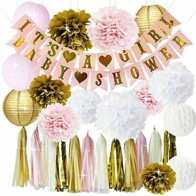 Pink and Gold Baby Shower Decorations for Girl BABY SHOWER IT'S A GIRL Garland - Pink And Gold Baby Shower Decorations