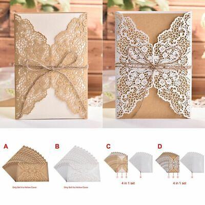 Wedding Invitations Cards Send Seal Envelope 10pcs Rustic Style Laser Cut -