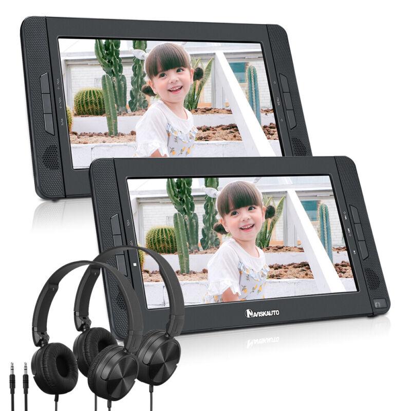 2x 10.1 Inch HD Car Headrest DVD Player 1080P Video SD USB AV IN OUT headphones