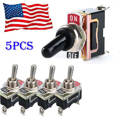 5 X Toggle Switch Heavy Duty 20a 125v Spst 2 Terminal Onoff Waterproof Boot Atv