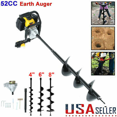52cc 3hp Gas Powered Post Hole Digger With 4 6 8 Earth Auger Digging Engine