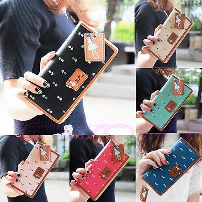 Fashion Women PU Leather Wallet Lady Long Card Holder Handbag Bag Clutch Purse