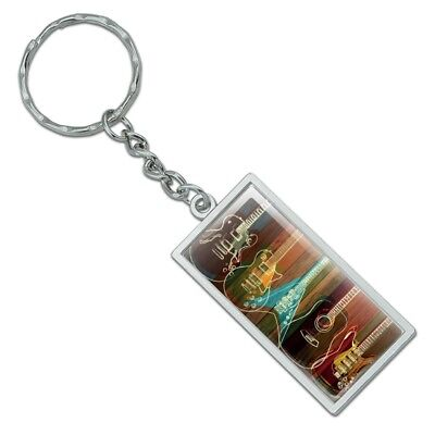 Rectangle  Guitars Electric Acoustic Rock and Roll Keychain Metal, used for sale  Shipping to India