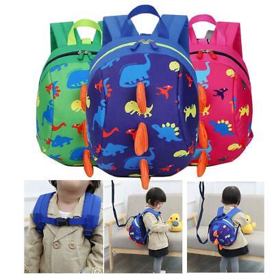 Children's Dinosaur Backpack Anti-Lost Safety Harness Bag with Leash Strap New!