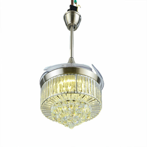 """42"""" Invisible Ceiling Fan Light Crystal Chandelier Pendant Lamp w/Remote - Silver 7"""