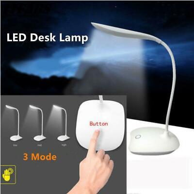 USB Rechargeable Touch Sensor Cordless LED Light Dimming Desk Table Reading Lamp