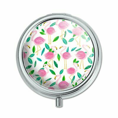 Cute Flamingos and Leaves Pill Case Trinket Gift Box