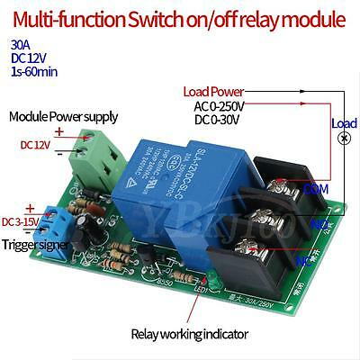 Dc12v Multifunction Delay Timing Onoff Optocouple Relay Module 30a Switch Timer