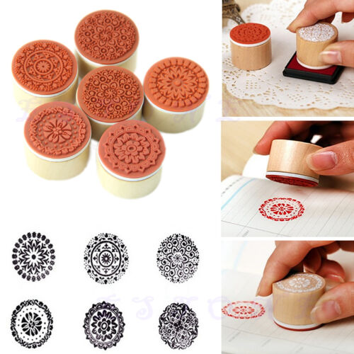 New Restoring Ancient Round Wooden Pattern Rubber Stamp Seal 6pcs