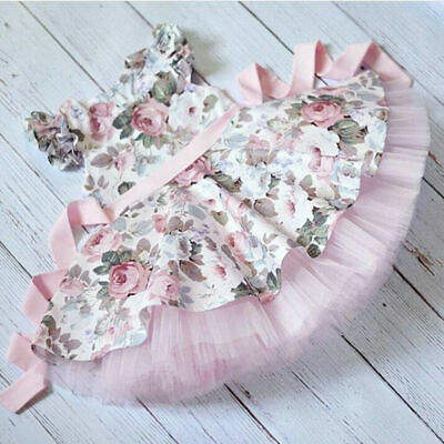 US Canis Kids Baby Girl Newborn Floral Lace Party Princess Tulle Dress Sundress](Newborn Baby Girl Party Dresses)