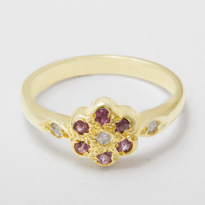- 18ct 750 Gold Natural Diamond & Pink Tourmaline Womens Daisy Ring - Sizes J to Z