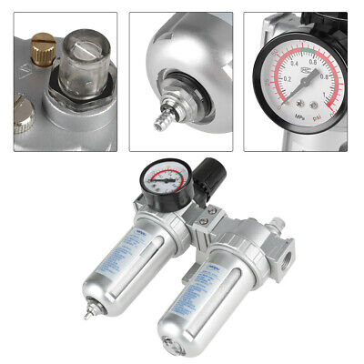 12 Aluminum Alloy Compressed Air Pressure Regulator Moisture Trap Water Filter
