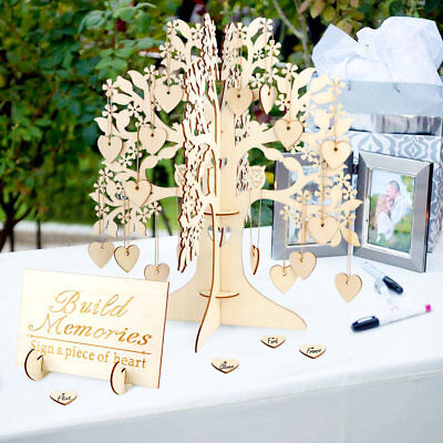 Wedding Guest Book Tree Wooden Hearts Pendant Drop Visit Sign Baby Shower Decor](Wedding Guest Tree)