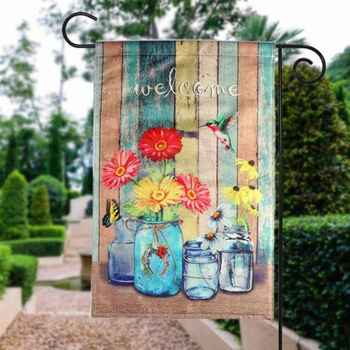 Spring Summer Burlap Garden Flag Animal Welcome Outdoor Yard