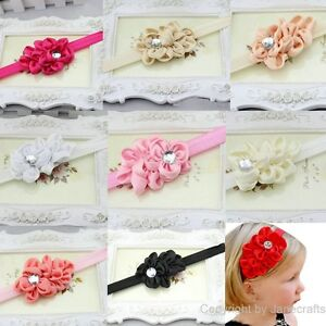 Baby-Girls-Toddler-Chiffon-Headband-Flower-Headwear-Hair-Band-Hair-Bow-8-Colors