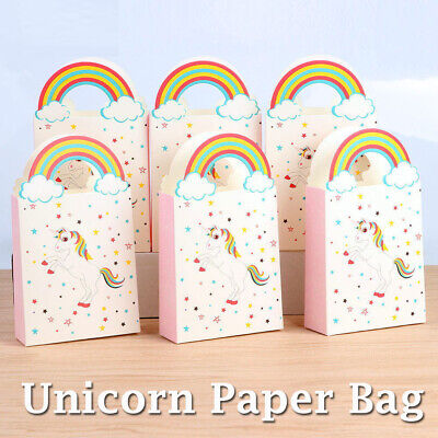 50 Themed Party (50X Unicorn Theme Paper Bag Treat Gift Loot Candy Box Kid Birthday Party)