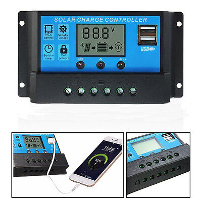 Us Dual Usb 20A 30A 12V 24V Solar Panels Battery Charge Controller Regulator Lcd