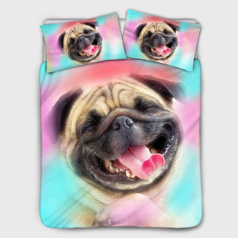 pug dog cat bedding set bed cover