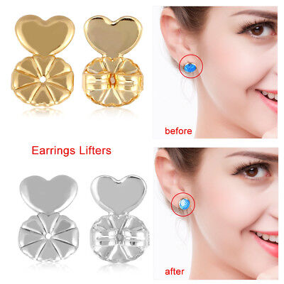 2Pairs Magic Earring Back Hypoallergenic Sliver Gold Plated Earrings Ear Nut