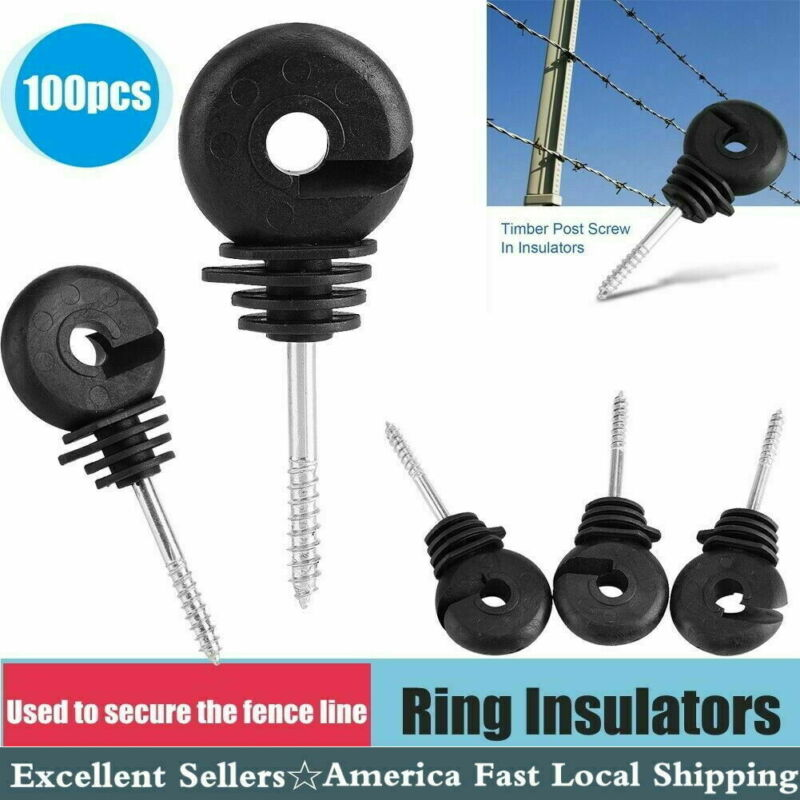 100x Insulator Timber Wood Post Screw  For Livestock Farm Electric Fencing