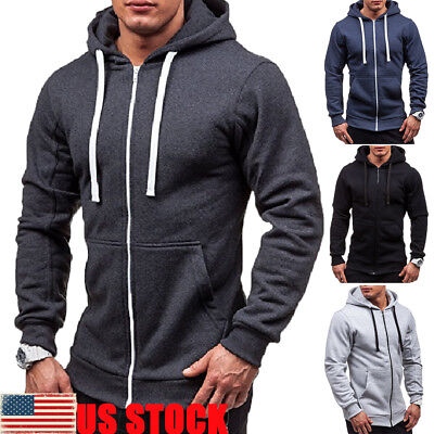 - Mens Fleece Hoodie With Thermal Lined Hood Jacket Sweatshirt Zip Outerwear Warm