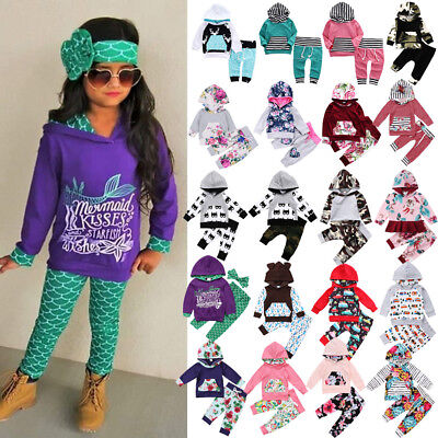 USA Boutique Kids Baby Boys Girls Floral Camo Hooded Hoodie Outfits Set Clothes