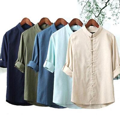 Spring Autumn Men Linen Cotton Shirt Mandarin Collar Traditional Chinese (Fall Style Men)