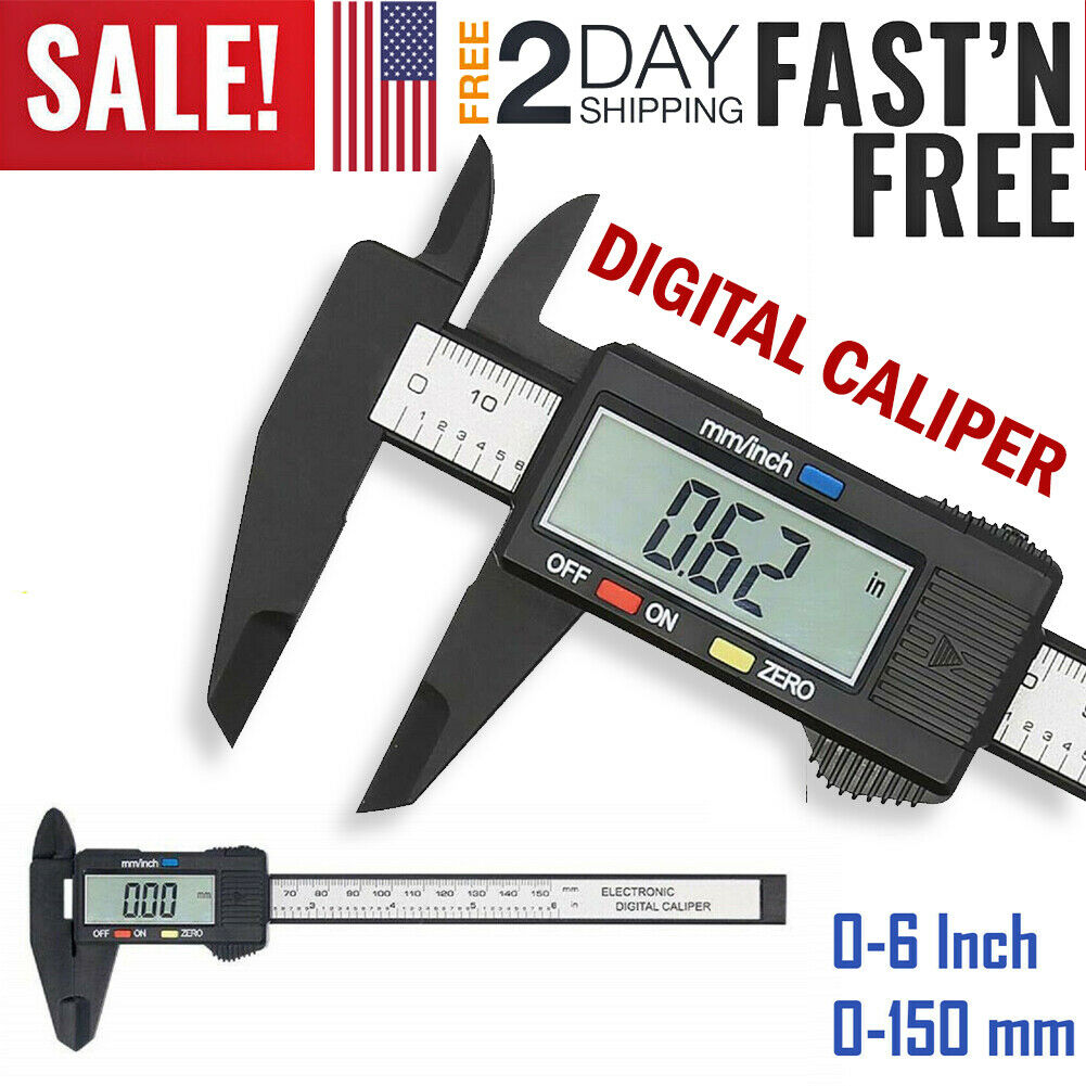 Rhinoco 150mm//6 inch Digital Vernier Caliper with 32 Feeler Gauge Electronic Caliper Fractions//Inch//Metric Conversion Measuring Tool with Sturdy Storage Case and Extra Battery