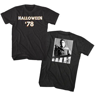 Halloween Horror Movie 1978 Mens T Shirt Michael Myers Mask Bloody Knife Villain](1978 Halloween Movie Mask)