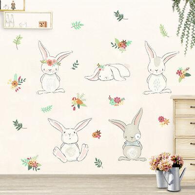 Wandtattoo Kinderzimmer Hase Mädchen Junge Tiere Blumen süß Kind Baby Aufkleber ()