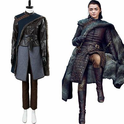 Game of Thrones Arya Stark Season 8 S8 Outfit Cosplay Costume Dress Suit Coat (Arya Game Of Thrones Costume)