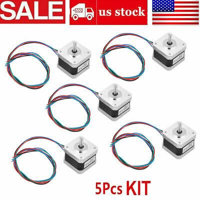 5pcs 32ncm Nema 17 Stepper Motor 0.4a 1.8 4wire Cable For 3d Printer Cnc Reprap