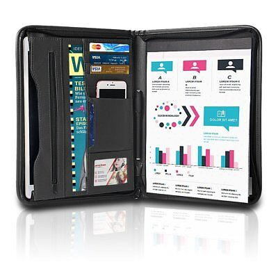 (A4 Padfolio Business Leather Portfolio Zippered Notebook Binder Office Organizer)