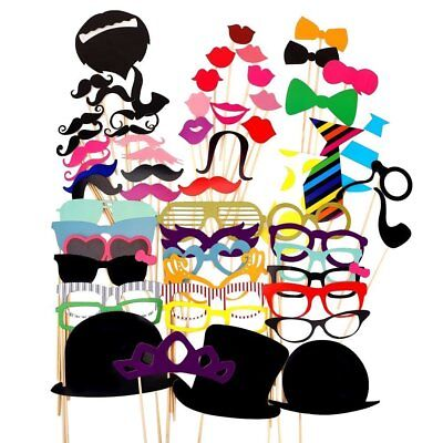 AKORD Paper Photo Booth Props Moustache Mask Lips Hat On Stick Party Birthday ()