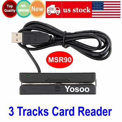 Usb Magnetic Stripe Credit Card Reader Mini 3 Tracks Pos Debit Bank Swiper Hi-co