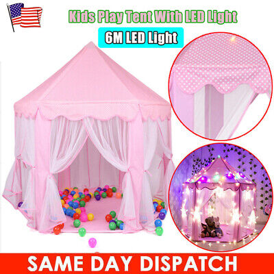 Princess Castle Play House Large Indoor/Outdoor Kids Play Tent for Girls Pink for sale  USA