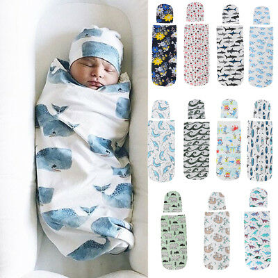 US 2PCS Newborn Baby Girl Boy Swaddle Wrap Blanket Sleeping Bag+Hat Outfits - Baby Boys Sleeping Bags