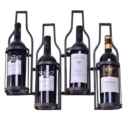 4 Bottle Metal Wine Rack (Metal Wine Rack Wall Decor Holds 4 Wine Bottles)