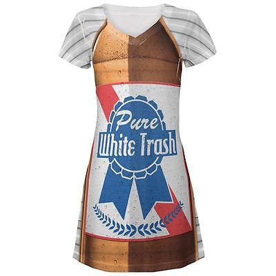 4th of July Halloween Pure White Trash Beer Costume Juniors V-Neck Dress