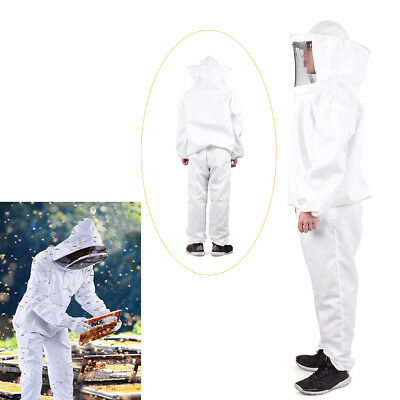 Professional Cotton Full Body Beekeeping Bee Keeping Suit Clothes Veil Hood New