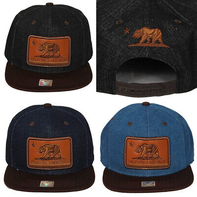 Ace Cap Inc Men's California Bear Leather Patch Hat Cap Clothing, Shoes & Accessories