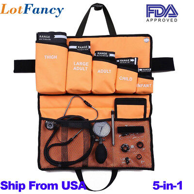 5-in-1 Palm Aneroid Sphygmomanometer Stethoscope Kit Adult Child Infant Cuff