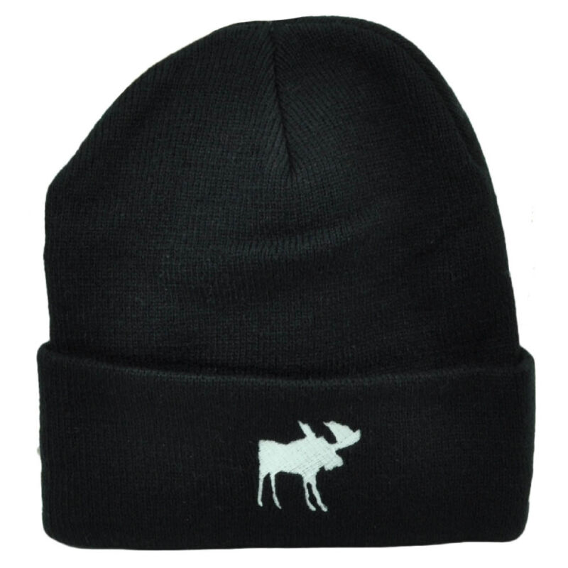 Moose New Hampshire Cuffed Thick Knit Beanie Granite State City USA Black Town