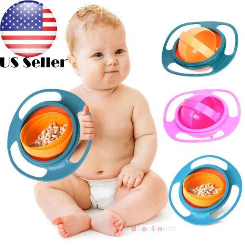 US Baby Bowl Children Tableware gyro Bowl  Dishes plate toddler infant kids